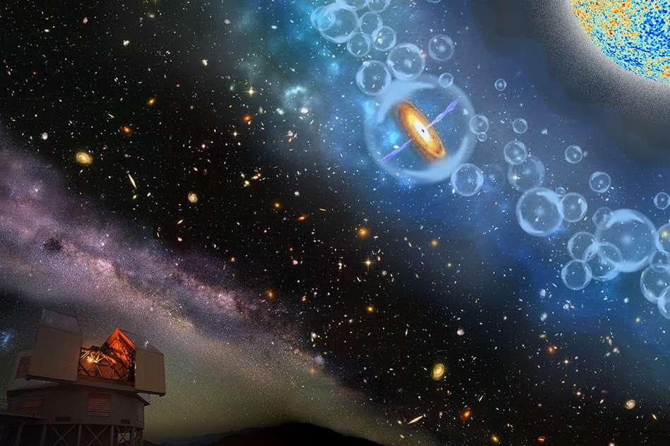La galaxie hôte du quasar J1342+0928 est elle-même très active. Les observations indiquent qu'elle forme entre 90 et 600 masses solaires d'étoiles par an (contre une seule, ou peu s'en faut, dans notre Voie lactée). Le rayonnement de cet astre devait contribuer à réioniser localement dans des bulles l'hydrogène et l'hélium neutres formés après la recombinaison, 380.000 ans après le Big Bang. © Robin Dienel, Carnegie Institution for Science