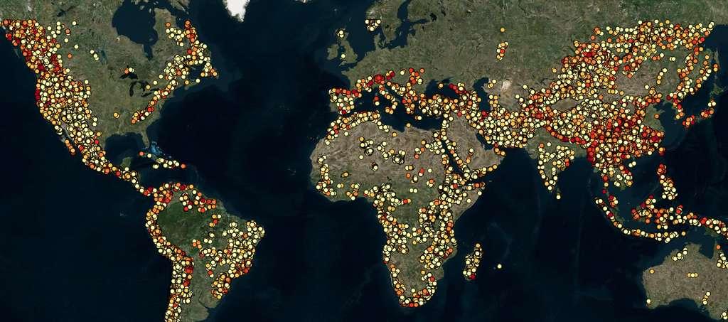 Plus de 530.000 sites potentiels de stockage par pompage ont été identifiés, de quoi couvrir largement une production 100 % renouvelable. © RE100 Group ANU, Aremi