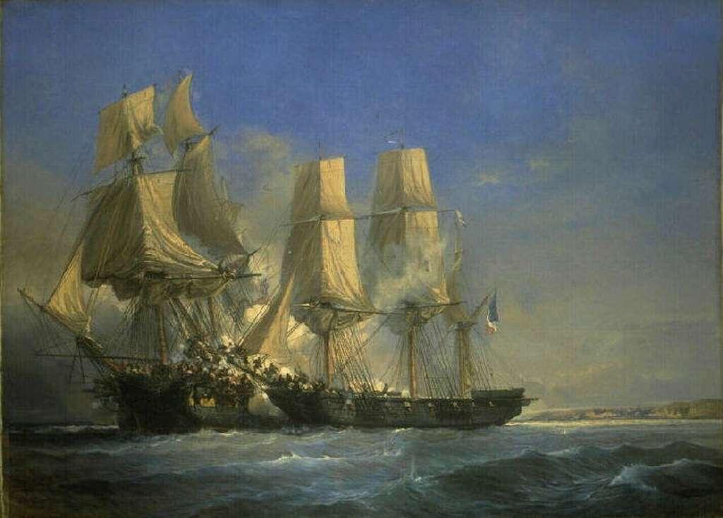 Combat de la corvette française Dame Ambert contre la frégate anglaise Lily en juillet 1804, par Jean-Baptiste Durand-Brager, vers 1850. Musée des Beaux-Arts de Bordeaux. © Wikimedia Commons, domaine public.