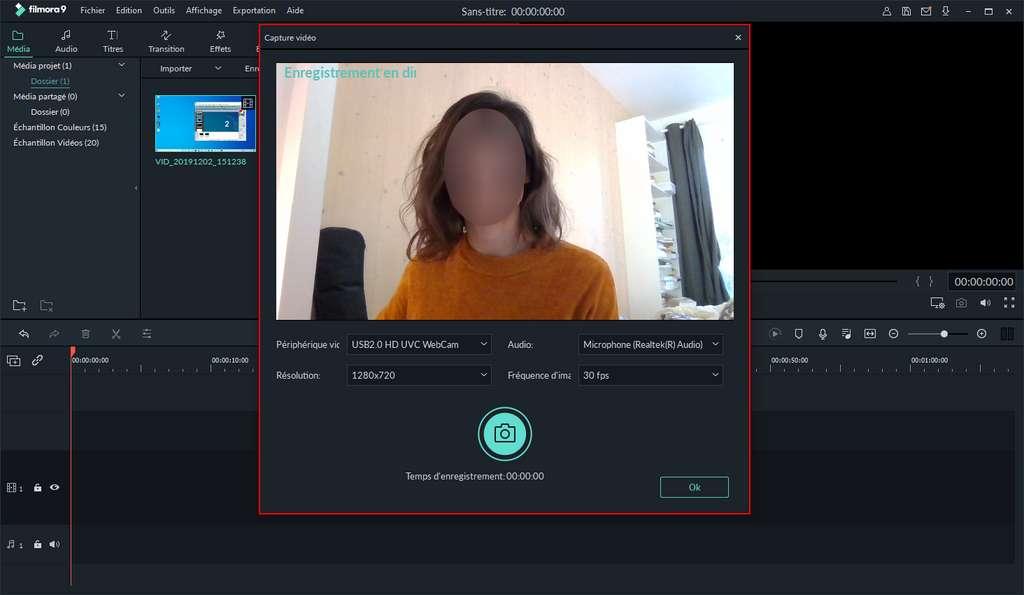 Réglez les paramètres d'enregistrement webcam. ©Wondershare
