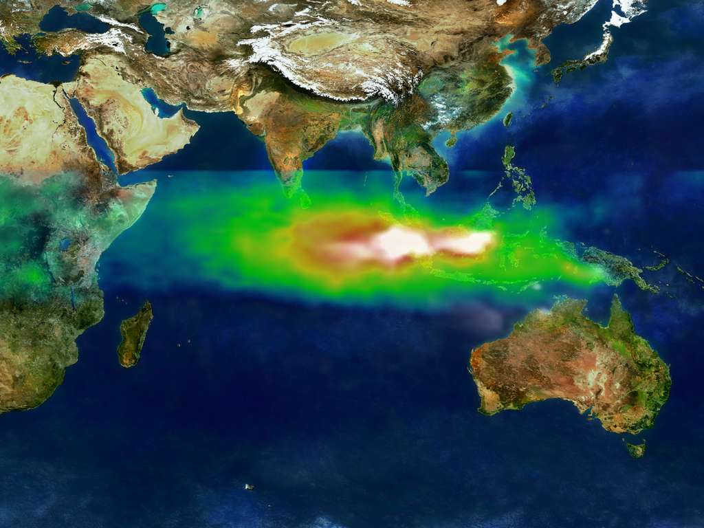 Pollution atmosphérique au-dessus de l'Indonésie, le 22 octobre 1997. Le blanc représente les aérosols. Le vert, le jaune et le rouge correspondent à des zones de concentration croissante en ozone troposphérique. © Nasa