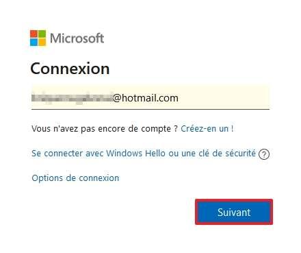 Connectez-vous à votre compte Microsoft. © Microsoft