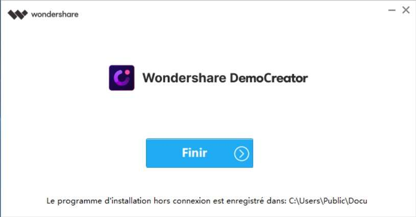 Terminez l'installation de DemoCreator. ©Wondershare