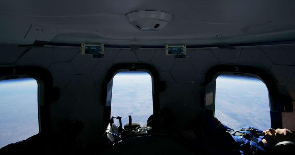 À l'intérieur de la Crew Capsule lors du vol test du 14 janvier 2021. © Blue Origin