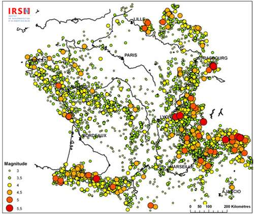 Sismicité en France entre 1963 et 2007. © IRSN