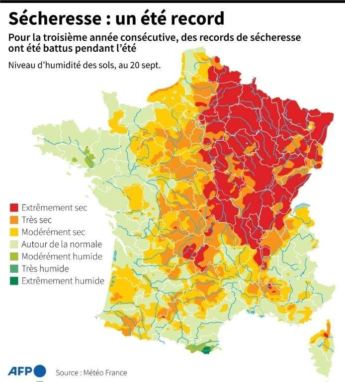 Les régions qui souffrent le plus de sécheresse sont concentrées dans nord-est de la France. © Romain Allimant, AFP