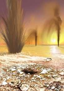 Vue d'artiste du paysage offert par le pôle sud de Mars au printemps (Crédits : Arizona State University/Ron Miller)