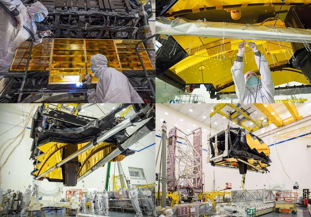 Différentes étapes du développement de l'observatoire spatial James-Webb. © Nasa, Northrop Grumman