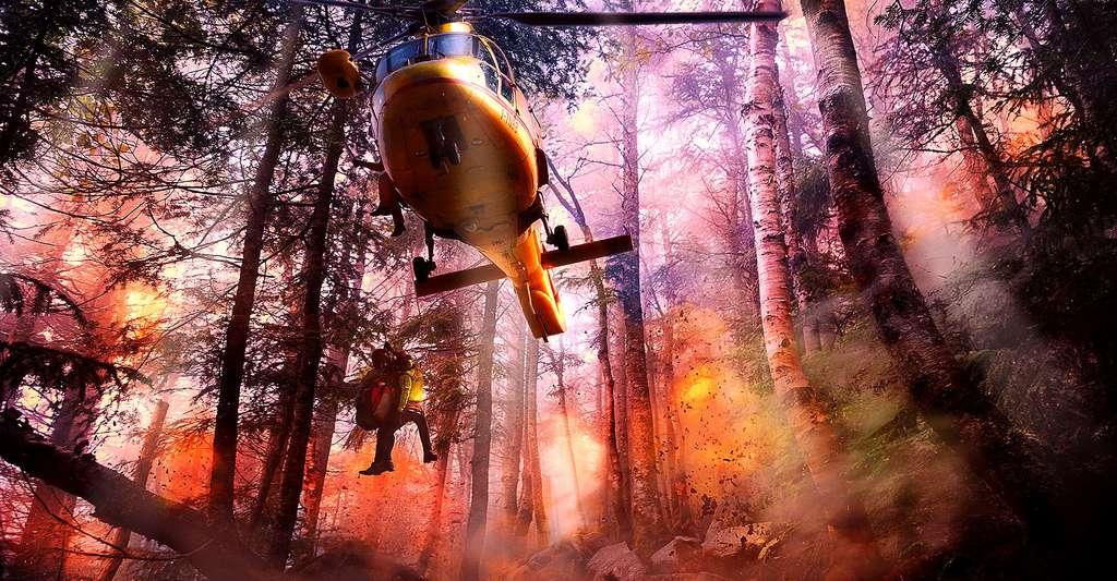 Sauvetage d'un pompier lors d'un incendie de forêt. © ThePixelman CCO