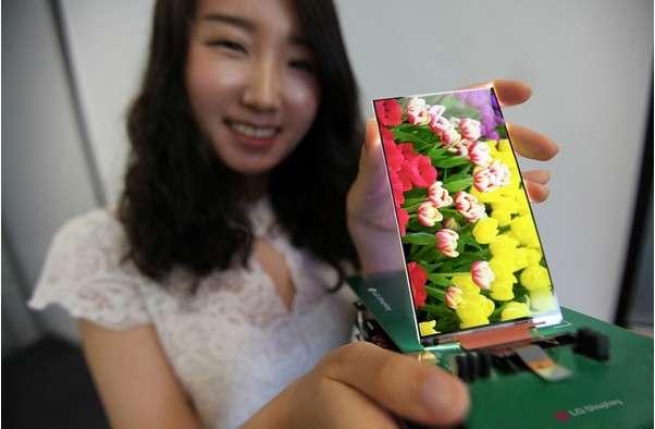 L'écran 5,2 pouces 1.080 x 1.920 pixels présenté par LG Display affiche un bord d'écran de 2,3 mm, ce qui lui confère une surface d'affichage quasiment totale. On devrait le retrouver dans les modèles de smartphones haut de gamme, à commencer par ceux du constructeur coréen. © LG Display