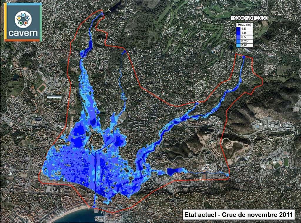 Carte des zones inondées par la crue du Pédégal, de la Garonne et du Peyron en novembre 2011 à Saint-Raphaël (Var). ©️ Service Hydraulique Cours d'Eau (SHCE)/Cavem