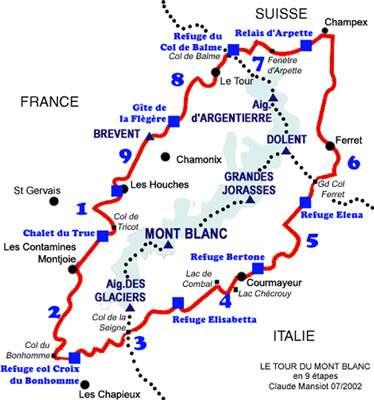Tour du Mont Blanc - © Carte Claude Mansiot