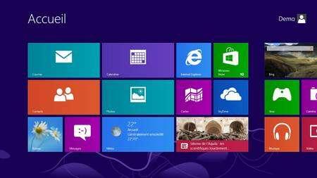 L'interface d'accueil de Windows 8, baptisée Modern UI, a été pensée pour un usage tactile, notamment sur les tablettes. Elle est composée de différentes « tuiles » qui peuvent être des raccourcis vers des applications ou des gadgets fournissant en direct certaines informations comme la météo ou le dernier e-mail reçu. © Eureka Presse