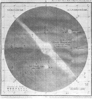 La galaxie d'Andromède dessinée par Charles Messier. Elle porte le n° 31 de son catalogue.