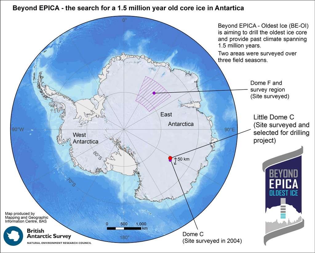 Le site de forage sélectionné par les scientifiques de Beyond Epica - Oldest Ice se trouve dans les régions centrales de l'Antarctique Est, à 40 km de la base Concordia bâtie à Dôme C. Le Dôme F a également été cartographié pendant les recherches du site idéal, mais n'a pas été retenu pour ce projet. © British Antarctic Survey (BAS)