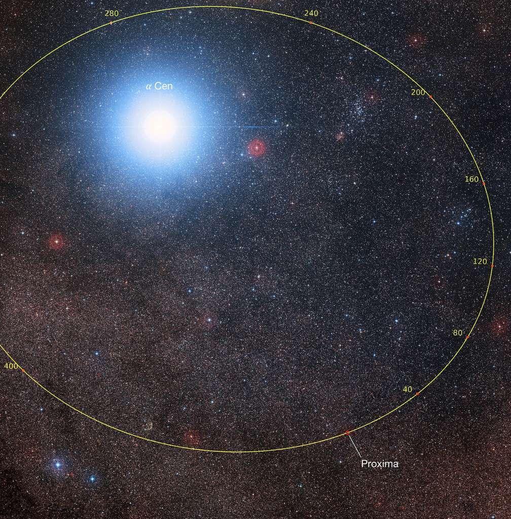 Tracé de l'orbite de Proxima montrant sa position par rapport à Alpha Centauri au cours des prochains millénaires (les graduations sont en milliers d'années). Le grand nombre d'étoiles du champ provient du fait que Proxima est située très près du plan de la Voie lactée, très riche en étoiles. © P. Kervella/ESO/Digitized Sky Survey 2/Davide De Martin/Mahdi Zamani/Observatoire de Paris