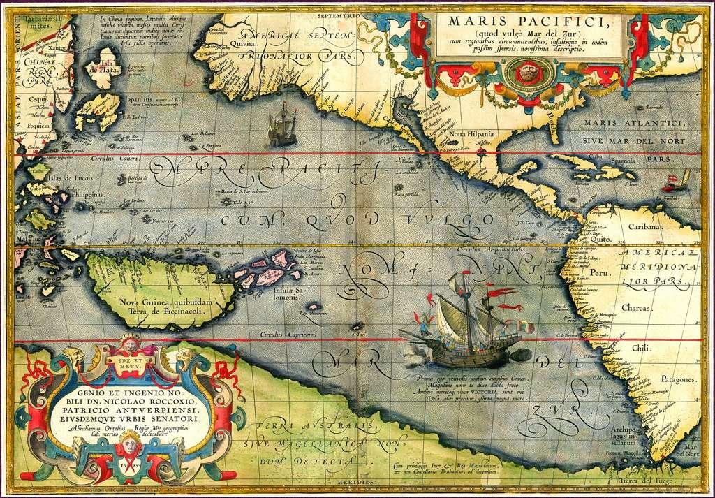 Carte marine du géographe flamand Ortelius datée de 1589 ; première carte imprimée dédiée au Pacifique. Sont mentionnés le continent austral inconnu et le navire de Magellan (la Victoria).© Wikimedia Commons, domaine public.