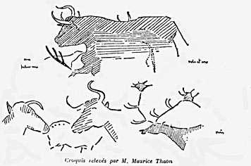 Les premiers dessins de Maurice Thaon, à Lascaux.