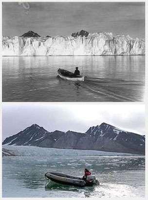 Photos du glacier Blomstrand (Spitzberg) en 1918 et de nos jours. © Greenpeace