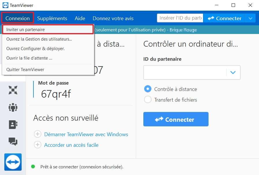 Il est possible d'envoyer une invitation à télécharger TeamViewer à la personne dont vous voulez gérer l'ordinateur. © TeamViewer GmbH
