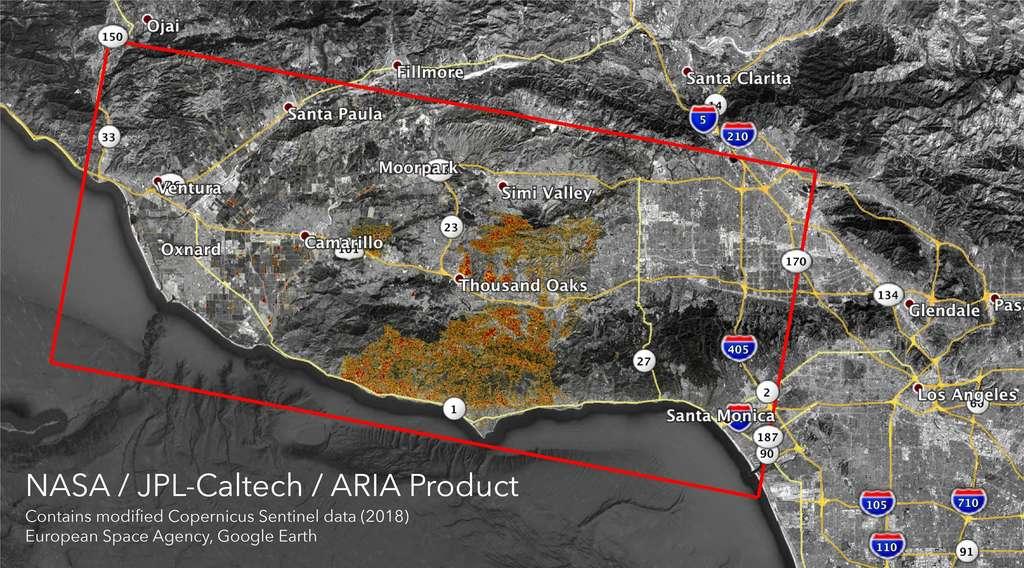 Carte montrant le territoire dévasté par le « Woolsey Fire » au sud de la Californie, au 11 novembre. Le rectangle rouge mesure 80 sur 40 km. © Nasa/JPL-Caltech