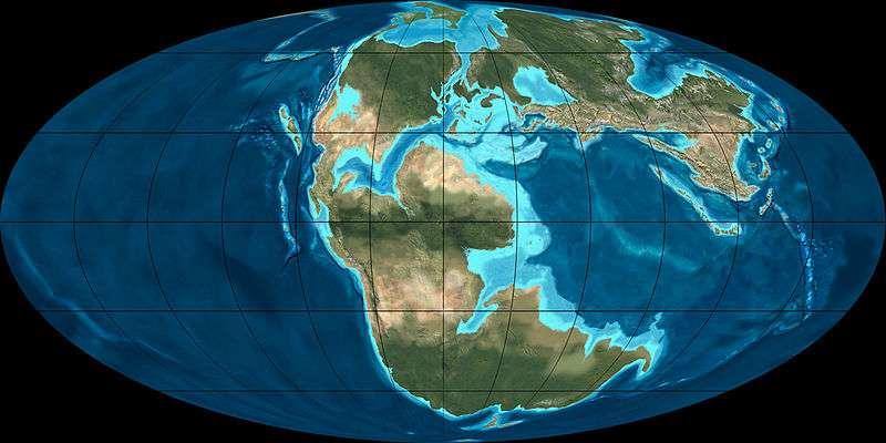 Reconstitution géographique de la Terre voici 170 millions d'années, soit durant le Jurassique moyen. © Ron Blackey, NAU Geology, Wikimedia Commons, cc by sa 3.0