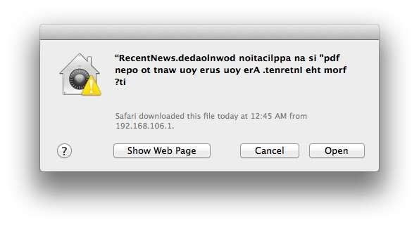 Lorsque l'utilisateur lance le fichier qu'il a reçu par e-mail, le message d'avertissement qui apparaît habituellement lors de l'ouverture d'une nouvelle application est rédigé à l'envers. Perturbé, l'utilisateur risque alors de valider son exécution et d'infecter le Mac. © F-Secure