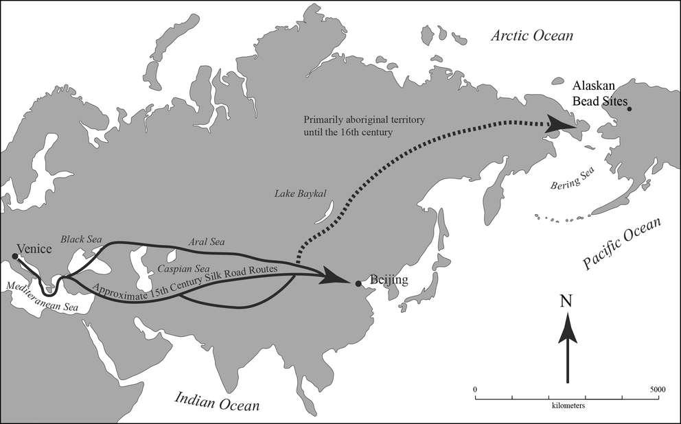 Une carte montrant les probables routes suivies par les perles vénitiennes avant leur arrivée en Alaska. © American Antiquity Michael Kunz - Robin Mills