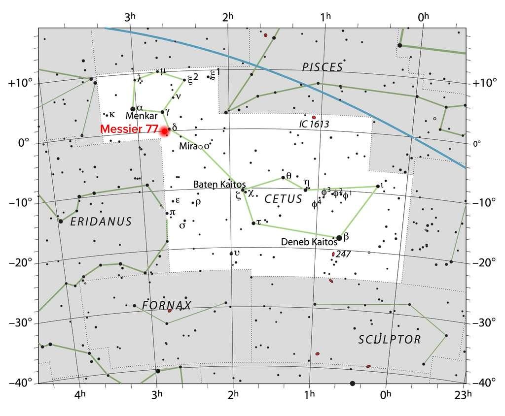 Carte illustrant l'emplacement de NGC 1068 (également connu sous le nom de Messier 77), une galaxie spirale située à environ 47 millions d'années-lumière de la Terre, dans la direction de la constellation de la Baleine. © IAU, Sky & Telescope magazine; NRAO/AUI/NSF, S. Dagnello