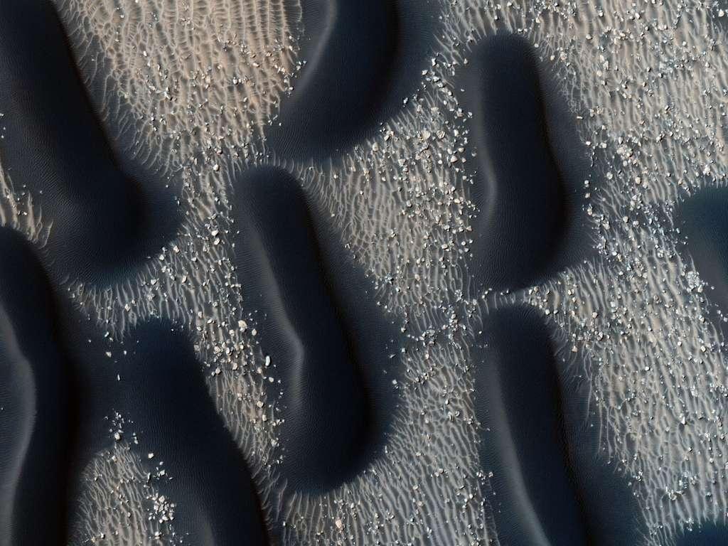 Les étranges dunes de sable basaltique noir au fond du cratère Proctor avaient été découvertes par la sonde Mariner 9. Mars Reconnaissance Orbiter en a refait le portrait en haute résolution. © Nasa/JPL/University of Arizona