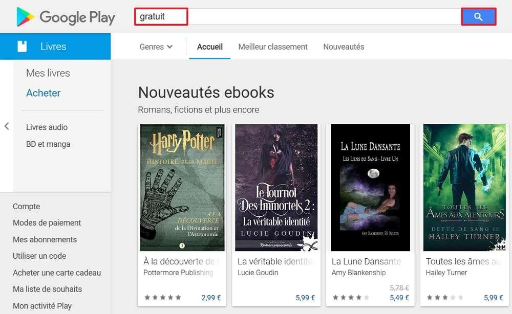 Tapez « gratuit » dans la barre de recherche pour accéder directement à la liste des e-books gratuits. © Google Inc.