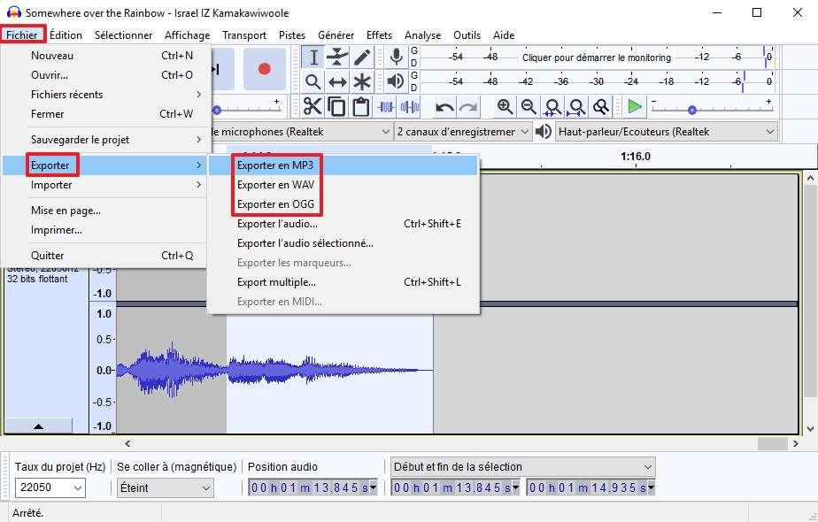 Exportez le fichier pour pouvoir l'écouter sur un lecteur multimédia. © Audacity