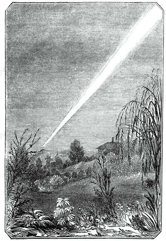 Gravure montrant la « Grande comète de 1844 » dans le ciel de Tasmanie. © Science Photo Library