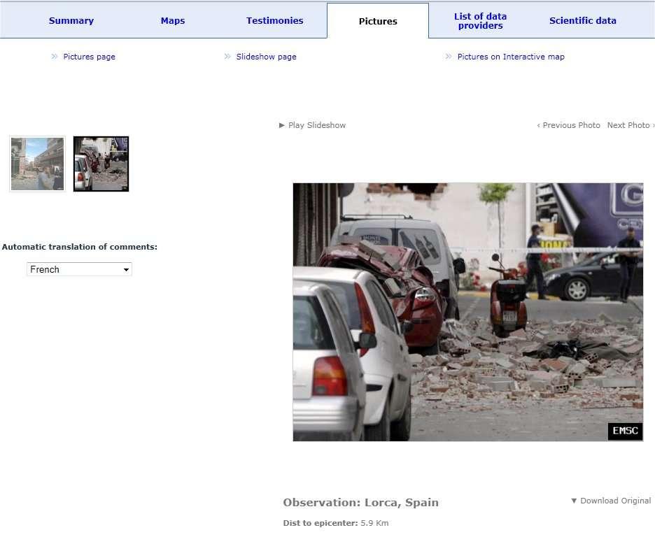 Des images prises par les habitants de Lorca, et transmises au Centre sismologique euroméditerranéen. Les dégâts sont très importants. © CESM