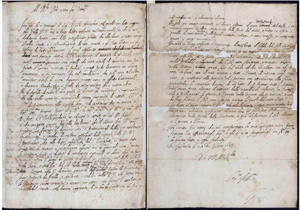 La lettre originale, envoyée en 1613 par Galilée, comporte les ratures et modifications apportées deux ans plus tard par l'astronome en vue d'apaiser l'Inquisition. © The Royal Society