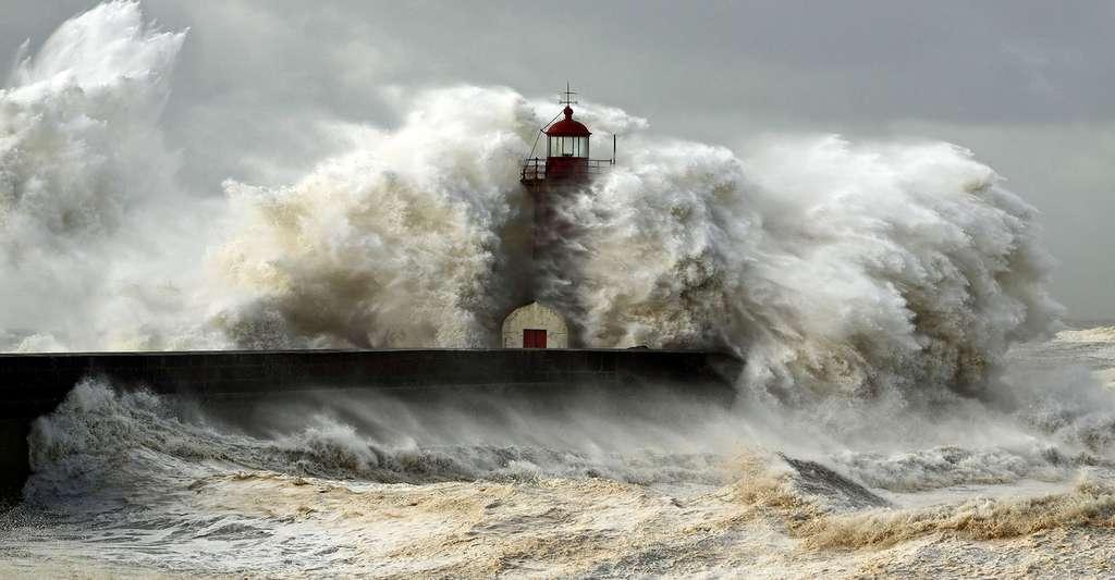 Effet d'un cyclone sur le phare à l'entrée du port du Douro. © Zacarias Pereira da Mata, Shutterstock