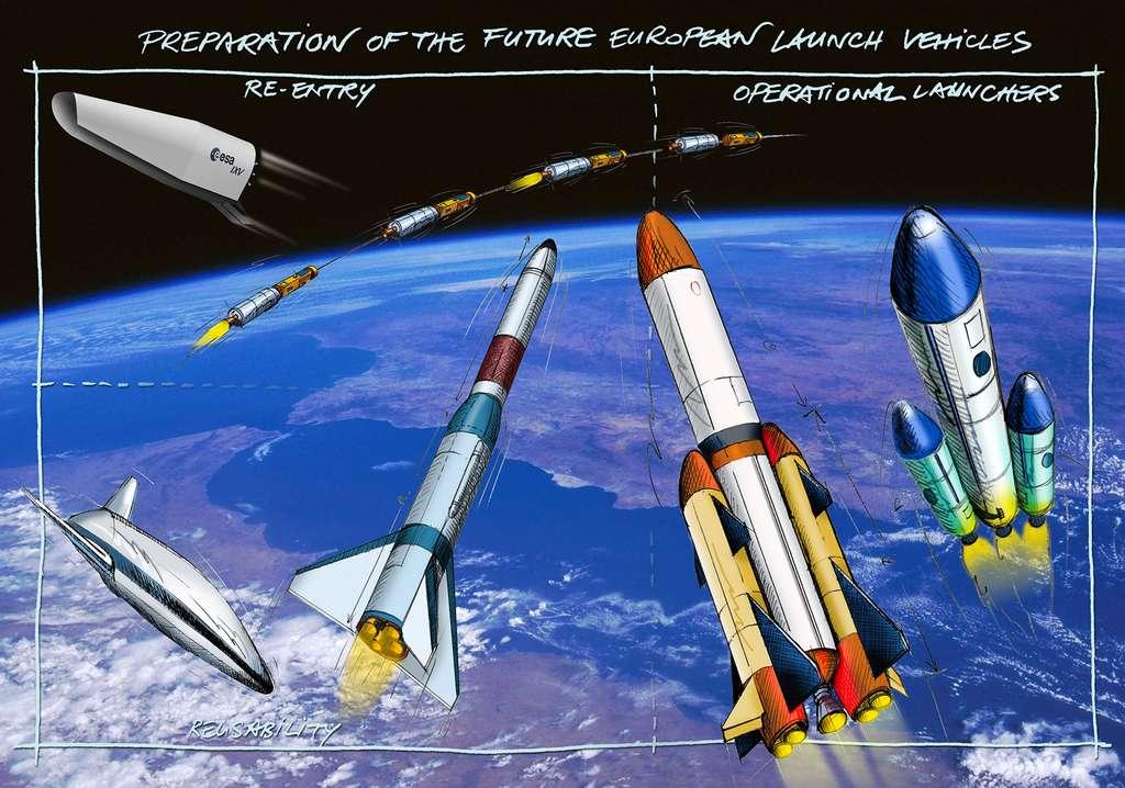 Quelques concepts de lanceurs du futur imaginés par les bureaux d'études de l'ESA, du Cnes et du DLR. © ESA, C. Vijoux