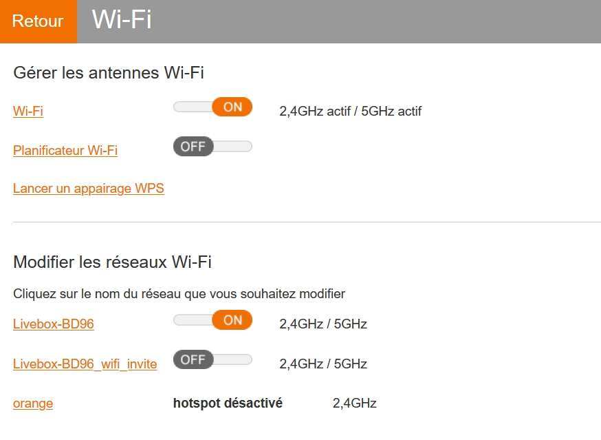 Réglez les paramètres wifi. © Orange