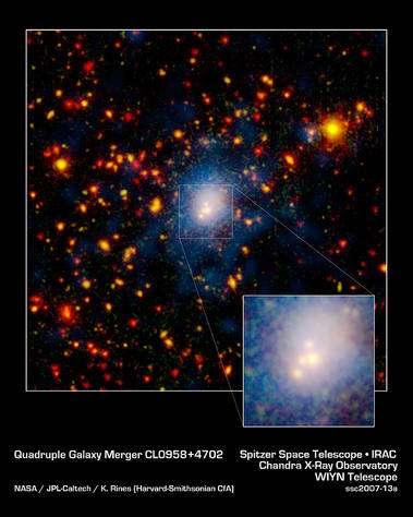 """En rouge, ce sont les images des galaxies détectées par Spitzer en IFR alors qu'en bleu il s'agit des observations de Chandra en rayons X. On voit nettement les """"Quatre Fantastiques""""."""