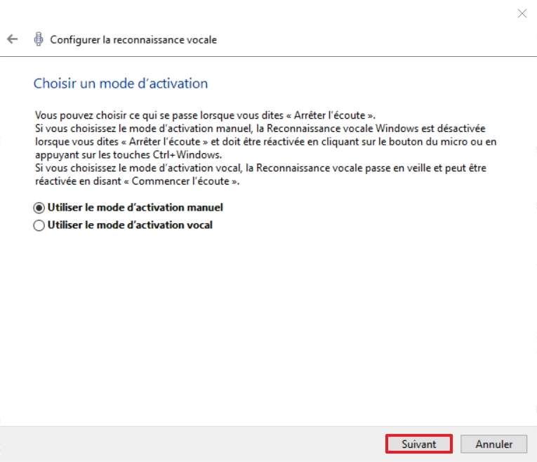 Définissez le mode d'activation de la reconnaissance vocale. © Microsoft