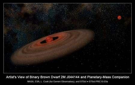 Une vue d'artiste de la naine brune 2M J044144 entourée d'un disque de matière et d'une géante gazeuse. Crédit : Nasa-Esa
