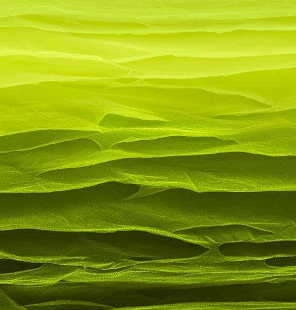Cette image en fausses couleurs (microscopie électronique à balayage) montre la surface fracturée d'une feuille de graphène «pontée» mise au point par des scientifiques de l'université de Dallas (États-Unis) et de l'université de Beihang (Chine). © Université de Beihang
