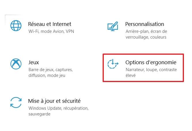 Rendez-vous dans les options d'ergonomie de Windows. © Microsoft