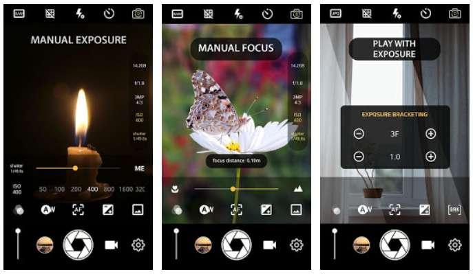 Certaines applications permettent d'accéder à des modes de prises de vue personnalisés. © Manual Camera : DSLR - Camera Professional, Play Store