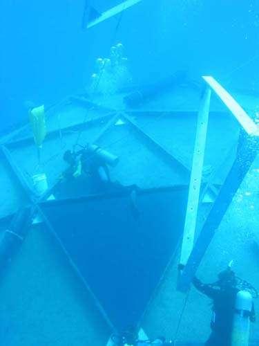 Certains aspects techniques seront appréciés par les professionnels de la filière aquacole. Plus besoin de plonger parfois profondément pour aller nettoyer les cages ou les filets. Il suffit en effet de se mettre sur l'Aquapod en surface et de le faire tourner sur lui-même. Même si, en revanche, il est plus facile de manipuler des gros éléments sous l'eau. © Ocean Farm Technologies