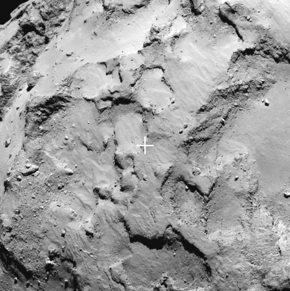 Gros plan sur le site J où se posera sans doute Philae de la mission Rosetta. © Esa/Rosetta/MPS for OSIRIS Team MPS/UPD/LAM/IAA/SSO/INTA/UPM/DASP/IDA