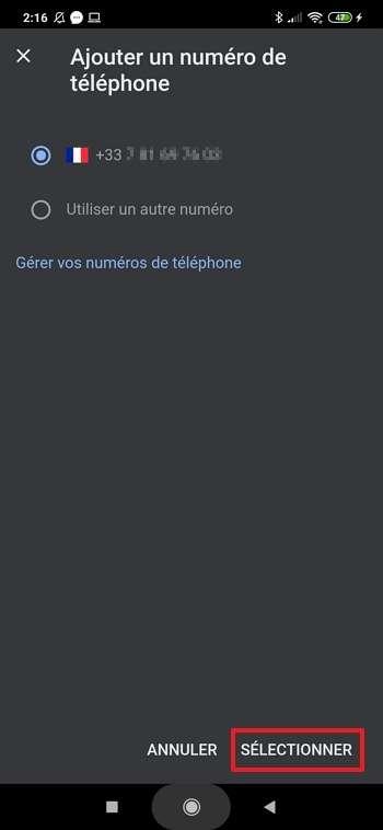 Renseignez le numéro de téléphone sur lequel Google enverra des SMS pour vérifier que vous êtes bien inactif. © Xiaomi Corporation