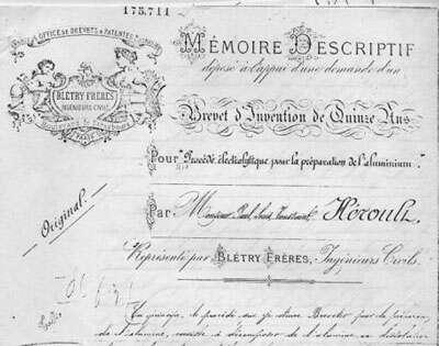 Brevet Héroult FR 175711 du 23 avril 1886