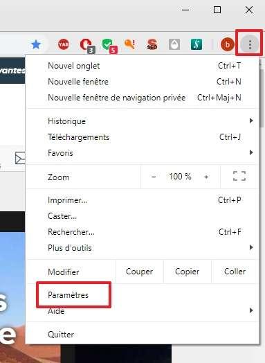 Allez dans les paramètres de Chrome. © Google Inc.
