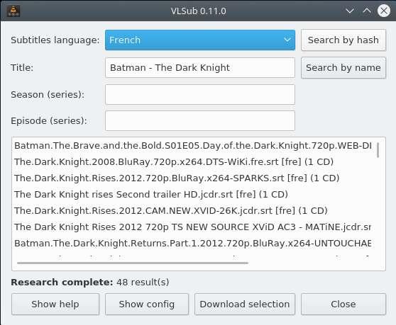Dans la liste, choisissez votre fichier de sous-titres puis cliquez sur « Download Selection ». © VideoLAN non-profit organization.